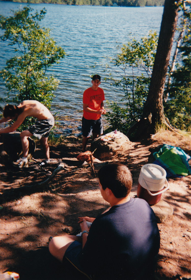 "Dan Gibbons on Red Rock island during a ""we don't have a car or a ride"" junior counselor day off in 2001."